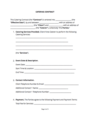 Catering Contract | Catering Contract Free Sample Docsketch
