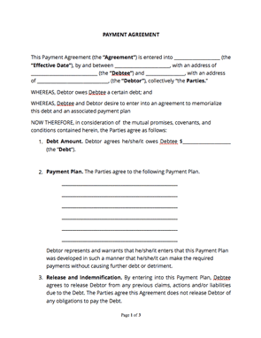 Payment Agreement Template Suyhi Margarethaydon Com