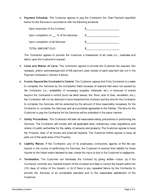 Remodeling contract page 2