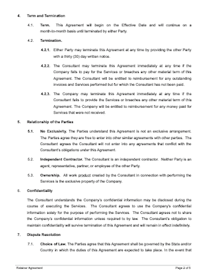 Retainer agreement page 2