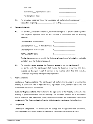 Landscaping contract page 2