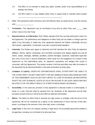 Memorandum Of Understanding Free Sample Docsketch