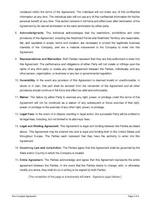 Non compete agreement template page 2