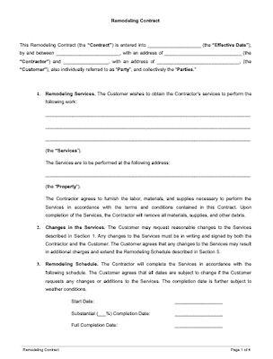 Remodeling contract page 1