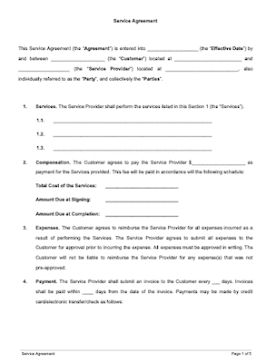 Service Contract Template Free Download Docsketch