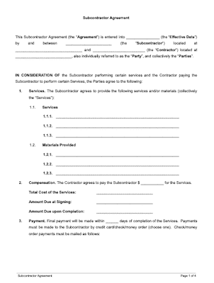 Subcontractor Agreement Free Download Docsketch
