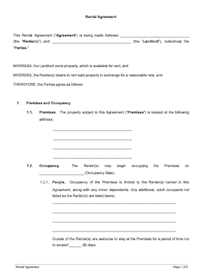 Basic Rental Agreement Free Sample Docsketch