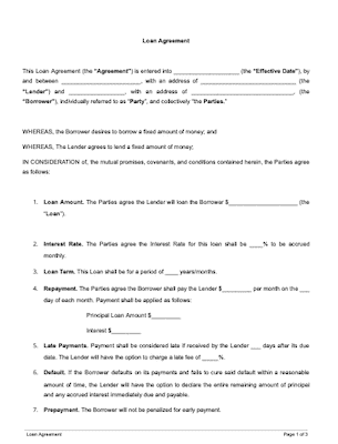 Loan Agreement Template Free Sample Docsketch