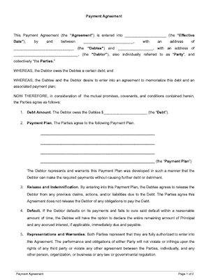Payment Agreement Template Free Sample Docsketch