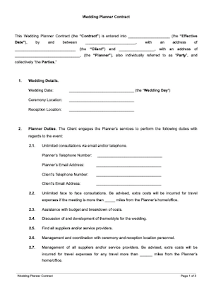 Wedding Planner Contract Free Sample Docsketch